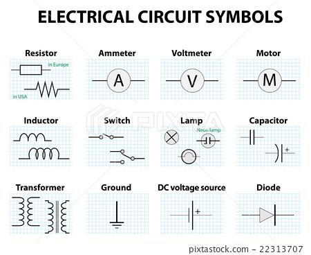 diagram symbols common circuit diagram symbols stock illustration  22313707  pixta  common circuit diagram symbols stock