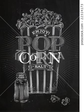 Poster popcorn salt chalk 22314173