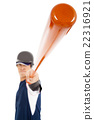 Baseball player holding bat over white background 22316921