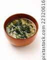 sea lettuce, miso soup, soup dish 22320616