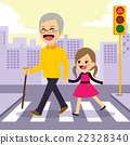 Girl Helps Grandfather Crosswalking 22328340