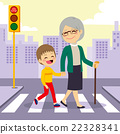 Boy Helping Grandmother crosswalking 22328341