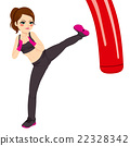 Woman Practicing Kickboxing 22328342