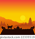Silhouette of a cat walking on the roof on Bali. 22335519