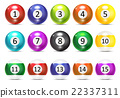 Ivories, Billiard Balls Set Vector 22337311