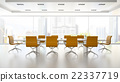 Interior of boardroom with orange armchairs 22337719