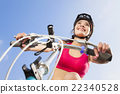 biker starting to ride with blue sky background 22340528