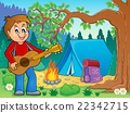 Boy guitar player in campsite theme 2 22342715