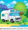 Camping van on lake shore 22342725