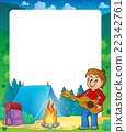 Summer frame with boy guitar player 22342761