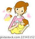 Mother give a baby milk a bottle.  22343152