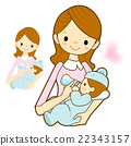 Mother give a baby milk a bottle.  22343157