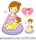 Mother breastfeeding her newborn.  22343163