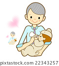 Grandmother give a baby milk a bottle.  22343257