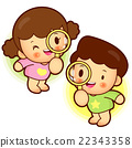 Magnifying glass looking boys and girls, 22343358