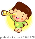 Boy is watching telescope. Child  Character 22343370