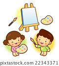 The boy and girl is with canvas in painting.  22343371