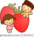 Children Mascot and strawberry.  22343411