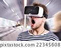 Man wearing virtual reality goggles. Subway 22345608