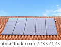 Solar power generation residential area home solar panel roof of red tile 22352125