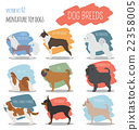 Dog breeds. Miniature toy dog set icon. Flat style 22358005