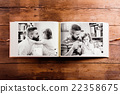 Fathers day composition. Photo album, black-and 22358675
