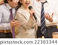 日本男女从卡拉OK兴奋的公司回来 22363344