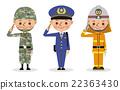 自卫队,警察,消防员的插图(3人) 22363430