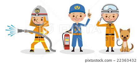 消防員的工作形象(消防活動,防災指導,救生) 22363432