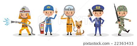 自卫人员,警察,消防员工作形象集(5人) 22363433