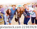 Group of teenagers at summer music festival, sunny 22363928