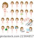 Straight bangs hair woman pink Swimwear style 22364657
