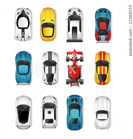 Sport Cars Top View Set Stock Illustration 22368555 Pixta