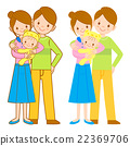 The mother and her husband holding the baby.  22369706