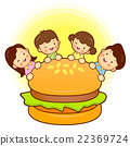 Large hamburger and Family Mascot.  22369724