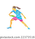 Female player is playing Ultimate Frisbee, vector 22373516