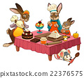 Funny cooking scene with rabbits making sweets 22376575