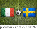 Italy vs. Sweden flags on soccer field 22378192