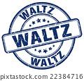 waltz blue grunge round vintage rubber stamp 22384716
