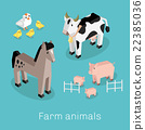 Farm Animal Set Isometric 3d Design 22385036