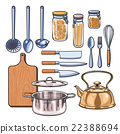 kitchen utensils in a color sketch style 22388694
