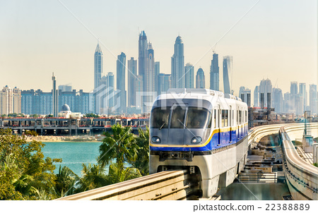 Train arriving at Atlantis Monorail station in 22388889