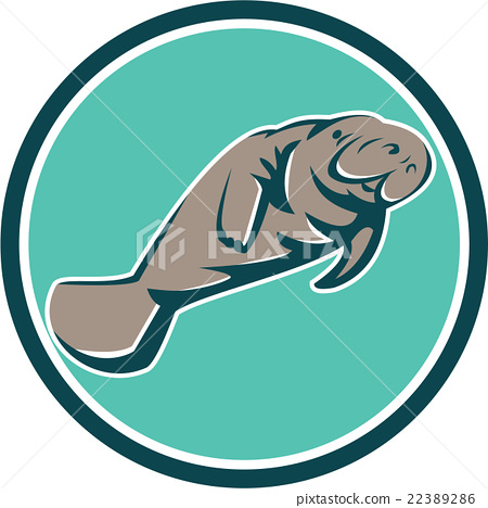 Manatee Sea Cow Circle Retro 22389286