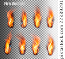 Fire flames set. Vector. 22389291