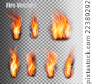 Fire flames set. Vector. 22389292