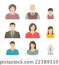 Asian family faces flat vector avatars set 22389310