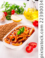 Stewed squid rings with tomato sauce, white plate 22390034