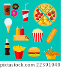 Fast food sandwiches, desserts and drinks icon 22391949