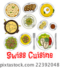 Swiss seafood dishes with fondue and desserts icon 22392048