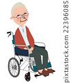 坐在輪椅的一個老人 22396085